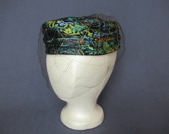 Vintage Pillbox Hat, Wrapped Turban Style Pillbox Hat of Many Colors, Vintage Bohemian Hat with Netting, Vintage Multicolor Pillbox Hat