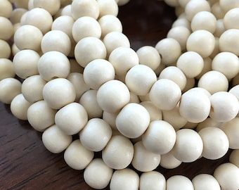 White Wood Beads, Round Wooden Mala Beads, Bleached Pangantuon Wood Beads, Whitewood Beads, White Wooden Beads, 8-9mm - 50 beads (W8-03)