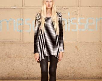 Sale,White & Black Stripes Shirt, Women Shirt,Long Sleeves Stripes Shirt, .Long Sleeve T Shirt,Gray tshirt, Long Sleeves tshirt, Women Tunic
