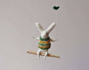 White Bunny on Swing, Needle Felted Animal, Nursery Decor, Baby Crib Mobile, Bunny Mobile