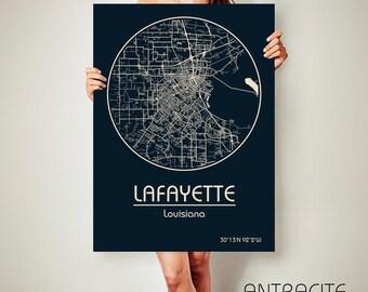 LAFAYETTE Louisiana CANVAS Map Lafayette Louisiana Poster City Map Lafayette Louisiana Art Print Lafayette Louisiana