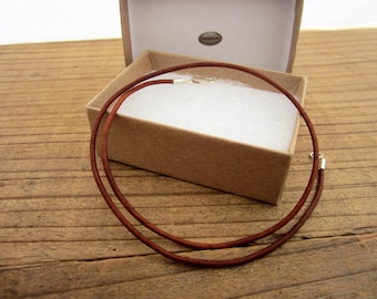 "2mm Natural Brown Leather Cord Necklace - Pure Sterling Silver Clasp/Catch - mens/womens - 16""/18""/20""/22""/24""/28"" inch"