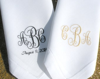 Set of Two Monogram Dinner Napkin Embroidered Dinner Napkins White Personalized Dinner Napkin Custom Cloth Napkins By Canyon Embroidery