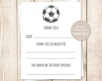 PRINTABLE soccer thank you cards . fill in the blank thank you . soccer birthday . sports . Instant Download . YOU PRINT