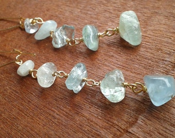 Aquamarine & Sterling or 14k Gold-filled Dangle Earrings - Crystal Healing Gemstones, Serenity, Eloquence, Protection FREE USA SHIPPING