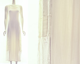 Vintage MINIMALIST Dress Gauze White Dress SPENCER ALEXIS Dress Patchwork Maxi Dress Long Dress Sleeveless Grunge Boho One Size os s m l