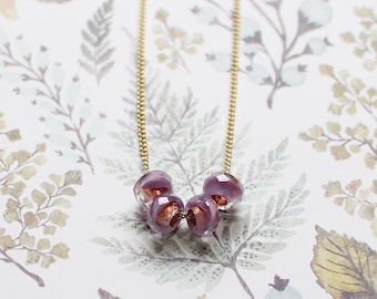 """violet and gold glass bead necklace - simple minimalist modern necklace, birthday gift, anniversary gift - """"cuatro"""" necklace in lavender"""