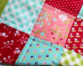 Cheery Baby Quilt Bonnie and Camille Vintage Picnic Baby Blanket Baby Girl Quilt Baby Shower Gift Crib Quilt Nursery Blanket New Baby Gift