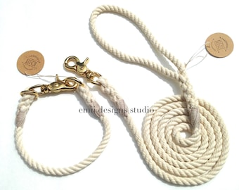 Natural Cotton Rope Dog Collar and 5 ft Leash Set
