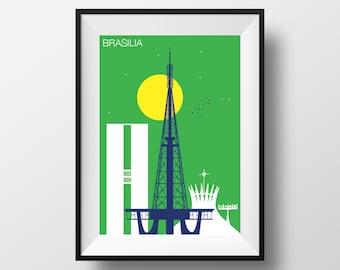 Brasilia print, Brasilia art, Brasilia artwork, Brasilia poster, Brasilia illustration, Brasilia wall art, Brasilia original gift, Brasilia