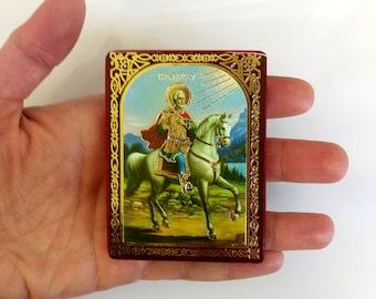 St. Mina The Wonder Worker, Saint Martyr Menas of Egypt, mini icon print on wood, keepsake icon, 6x8cm