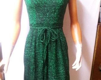 Vintage 1970s Beautiful Shiny Emerald Green Vicky Vaughn Dress