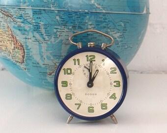 Vintage Alarm Clock - Vintage Blue alarm clock - Retro alarm clock - 60s