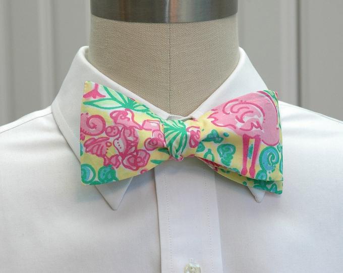 Men's Bow Tie, Snowbirds lemon sorbet Lilly print, pelican bow tie, flamingo bow tie, wedding bow tie, prom bow tie, birds bow tie