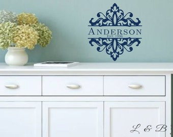 Personalized Damask- Vinyl Wall Decal- Family Name Established Date- Damask Design- Home Decor- Wall Quotes-Foyer Decor-Sign Making supplies