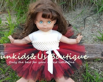 Red Black Doll Tutu skirt- American Doll tutu skirt -  outfit for American girl doll- Choice your color