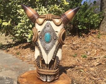 Rope Steer Skull Western Decor / Skull Flower Vase