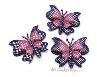 Set of 3 purple embellishment multicolored fabric butterflies scrapbooking card making (ref.310) *.