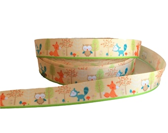 "7/8"" Woodland Theme ~ Forest ~ Owl ~ Fox ~ Squirrel ~ Grosgrain Ribbon ~ Trim ~ Hair Bows ~ Gift Wrap ~ Scrapbook ~ Woods ~ 7/8 inch"