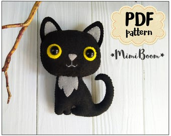 Halloween ornament cat DIY felt ornaments Halloween Tutorial plushies Halloween pattern cat Halloween craft Felt sewing Felt tutorial