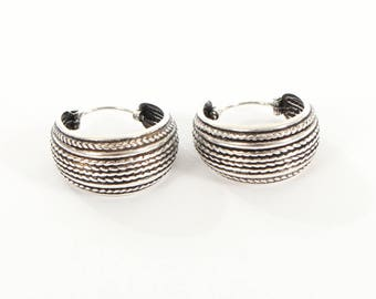 Sterling Silver Oxidised Hooped Earrings