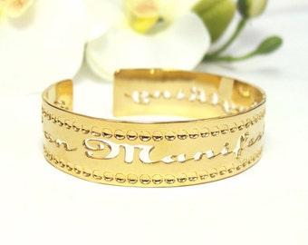 "Gold cuff ""I can manifest anything"" Affirmation jewelry personal development, dainty cuff, manifesting, spiritual jewelry, success"