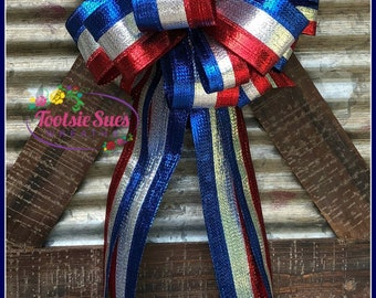 America Star Bow, Red White Blue Patriotic Bow, Wreath Bow, Package Gift Bow, 4th of July Bow, Veterans Day Bow, Bow for Wreaths