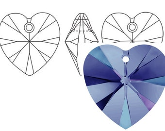 Swarovski 6228 Crystal Heart Pendant 14mm Heliotrope 2PC 6PC