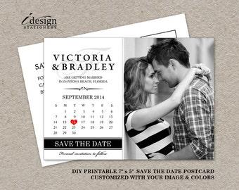 DIY Printable Calendar Save The Date Postcard, Photo Save The Date Postcard, Wedding Save The Date Post Card With Monogram And Calendar