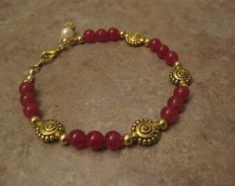 ruby bracelet, ruby jewelry, red ruby bracelet, natural ruby bracelet, red stone bracelet, red ruby jewelry