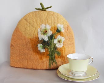 Hand Felted and Embroidered White Flower Tea Cosy