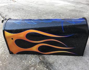 Hot Rat Rod Traditional Flame Pinstripe Metal Flake Art Mailbox