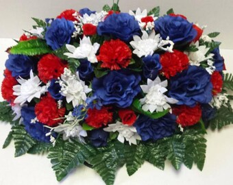 Large Red, White and blue memorial saddle