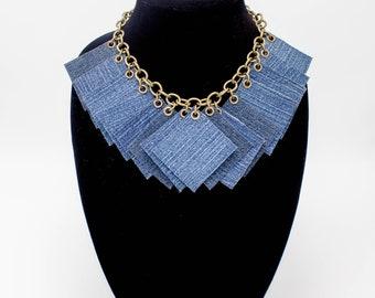 Unique Necklace  | Textile Necklace | Statement Necklace | Statement Jewelry |  Handmade Necklace | Denim Jewelry