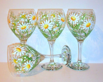 Bridesmaids Wine Glasses Gift Bachelorette Party Wedding Bridal Shower Mother White Daisies & Babies Breath Hand Painted Set of 4 / 20 oz.