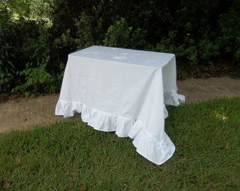 Bright White Ruffled Tablecloth Ready to Ship Ruffled Table Cloth 108x122 Handmade Wedding Decorations Table Decor French Country