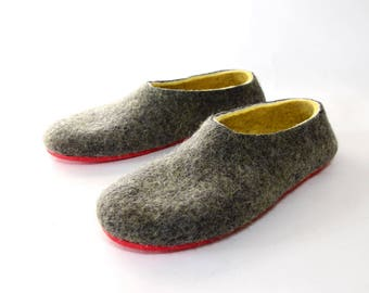 Slippers Men Wool Shoes gray yellow House Slippers men, Felt Shoes Modern family Clog boots, Slipper Boots Summer Slippers Colorful for Him