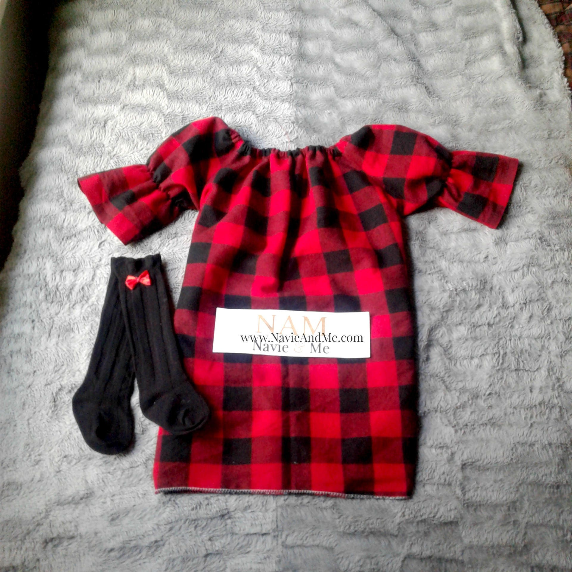 Red And Black Buffalo Plaid Dress Baby Christmas