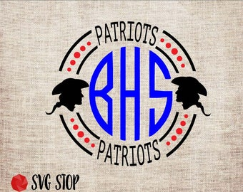 Patriots Monogram Frame - SVG, DXF, PNG, Jpg, Eps - Cut File - Silhouette, Cricut, Sublimation Printing - Instant Digital Download