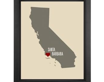 Santa Barbara Love Art - Show your love for Santa Barbara with this original art print.