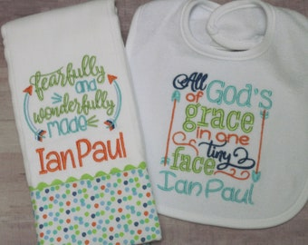 Personalized Baby Boy Burp Cloths with special bible verses