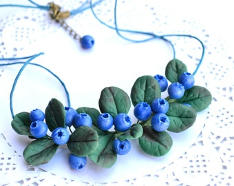 Blueberry bilbery necklace stud earrings Blueberry jewelry Bilberry Berry necklace jewelry set Rustic necklace jewelry set natural necklace