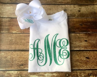 Long Sleeve Monogram Shirt and Monogram Hair Bow Set, Monogrammed Gifts, Hair Bows, Gifts for Her, Monogrammed Shirt