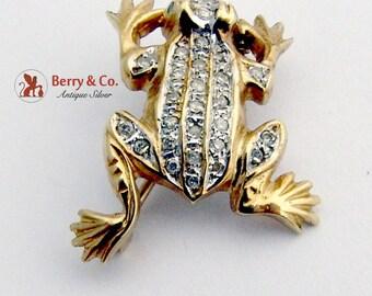 Vintage Frog Brooch 14 K Gold Diamonds