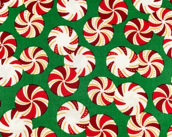 Christmas fabric, Christmas Mints, Peppermint Candies fabric, 100% cotton fabric for Quilting and general sewing projects.