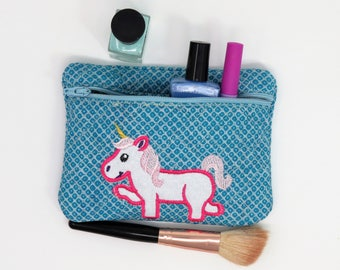 Unicorn, Makeup Bag, Pencil Bag, Unicorn Bag, Small Makeup Bag, Girls Makeup Bag, Girls Pencil Case, Unicorn Purse, Unicorn Zipper Bag, Girl
