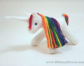 Miniature Rainbow Felt Toy Unicorn