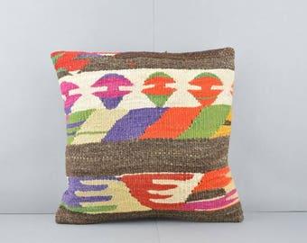 16''x16'' Kilim Pillow, Decorative Kilim Pillow, Vintage Pillow, Bohemian Pillow, Ethnic Pillow, Vintage Kilim Rug Pillow, Home Decor