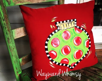 "Christmas Hand painted Decorative Pillow 16""   Can be personalized"