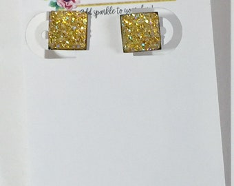 10mm Yellow Square Druzy Earrings